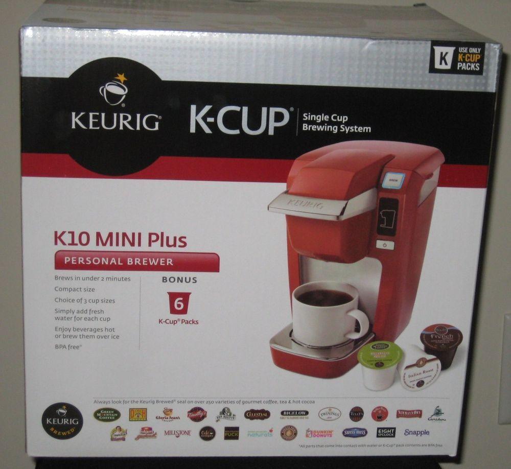 Keurig Mini Red K10 Mini Plus Personal Brewer 6 Bonus K Cup