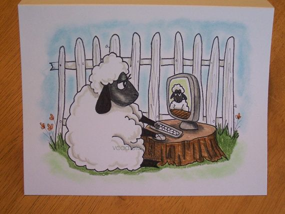 Sheep, Computer, ORIGINAL drawing, animal illustration, hand drawn - wandtatoos für küche