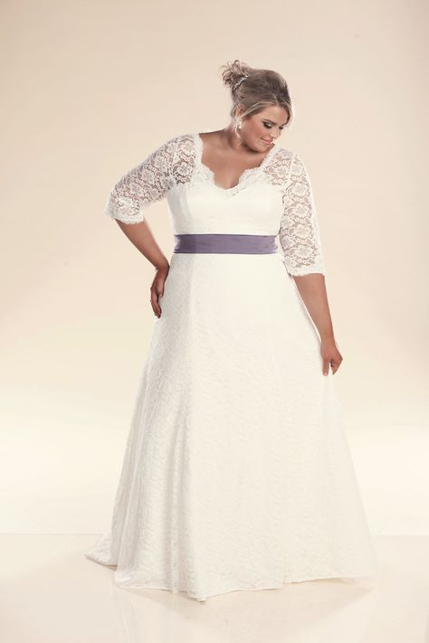Plus size lace wedding dress with sleeves the Rosie | Shalon wedding ...