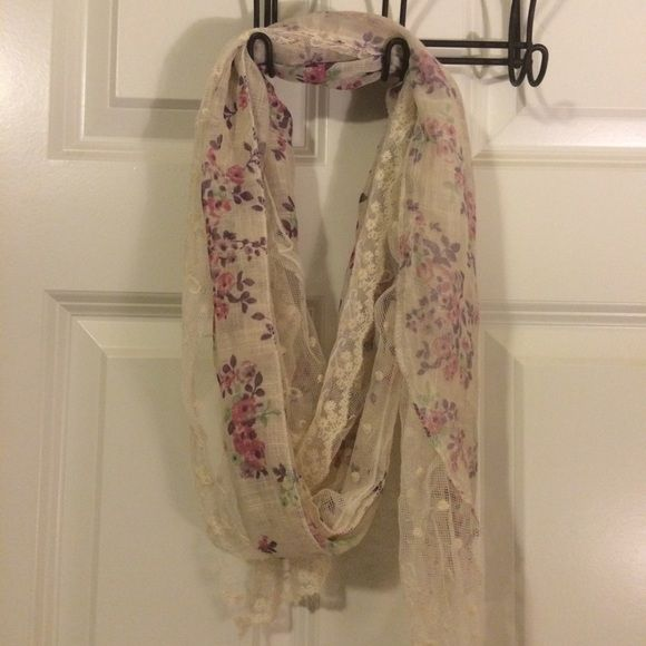 Lace scarf Cream colored lace scarf with purple flowers. Cute and light weight. Only worn once or twice. Accessories Scarves & Wraps