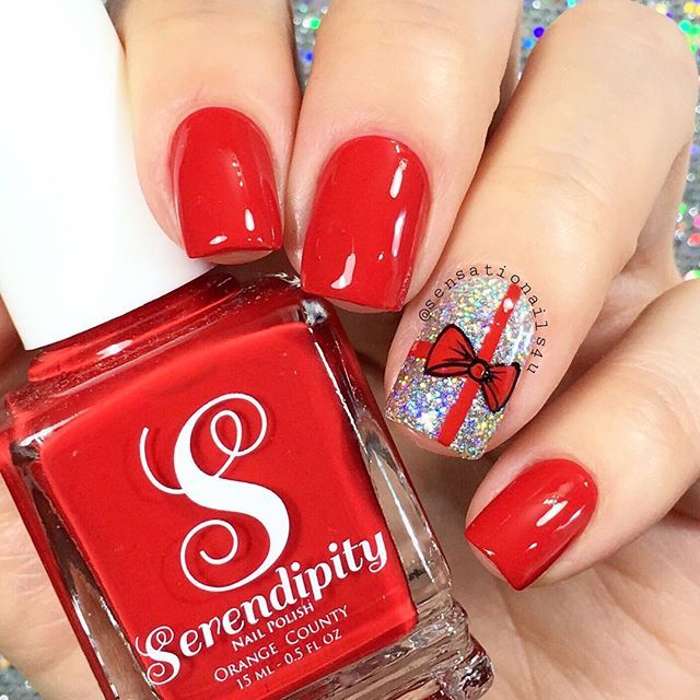 Cute Red Bow Nails Nails Pinterest Nail Stuff And Manicure