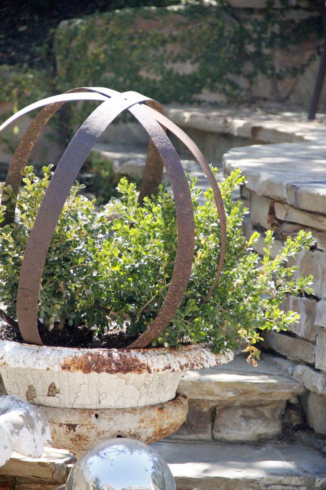 Metal Garden Orb Repurposed Greedy Me