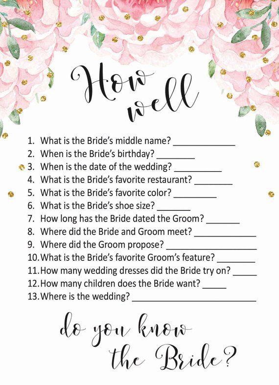 Bridal Shower Game How Well Do You Know The Bride Printable Bridal