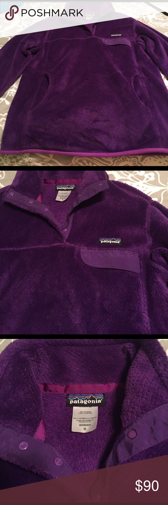 Patagonia Re-Tool Snap-T Fleece Pullover This warm, quintessential pullover has feminine seaming, a pouch-style handwarmer pocket and is made with Polartec® Thermal Pro® polyester fleece. Size medium. chest: 36-37 waist: 29.5-30.5 hip: 38.5-39.5. brilliant regal purple color. like-new; worn very few times. Reasonable offers are welcomed! Patagonia Tops Sweatshirts & Hoodies