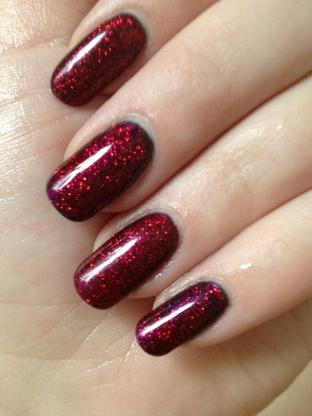Shellac Red With Glitter Red Nails Glitter Glitter Gel Nails Red Gel Nails