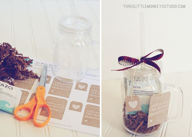 "You are a tea-riffic teacher!"" Mason jar style cup....gift tag ..."