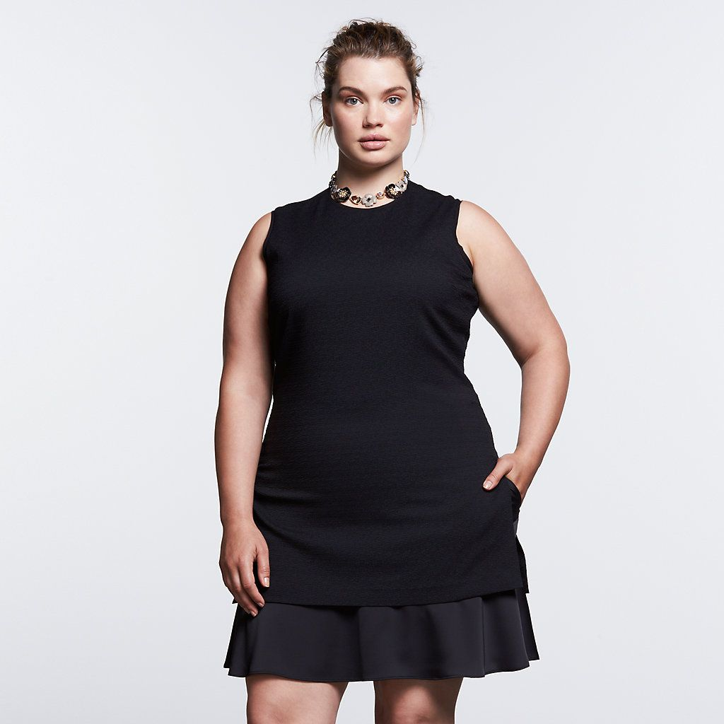 35bb9d8876b0 Plus Size Simply Vera Vera Wang Simply Noir Mock-Layer Shift Dress ...