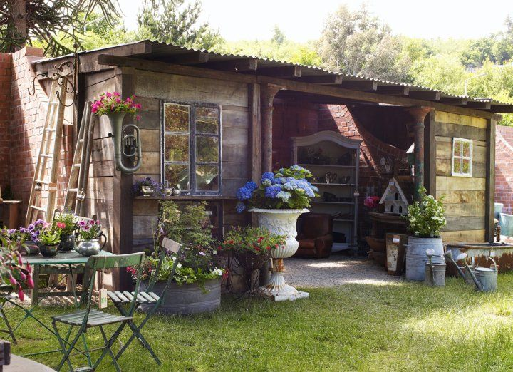 A Very Rustic Potting Shed From Many Recycled Materials