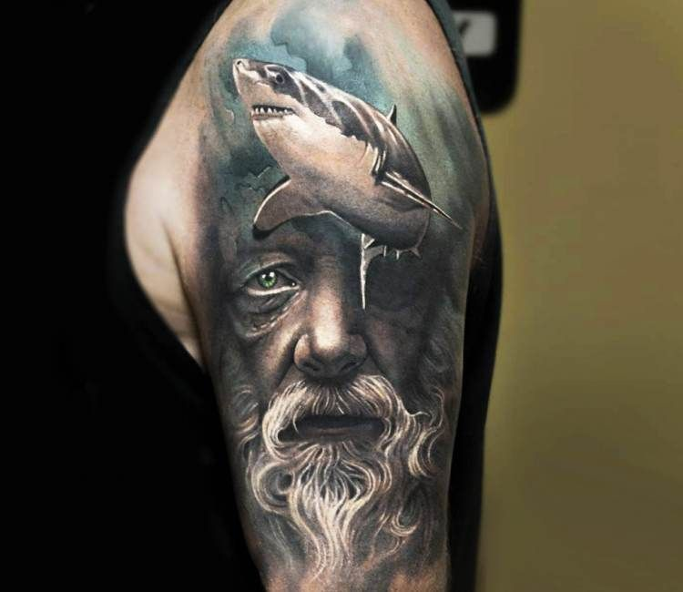 Old Man Face With Shark Tattoo By Arlo Tattoos