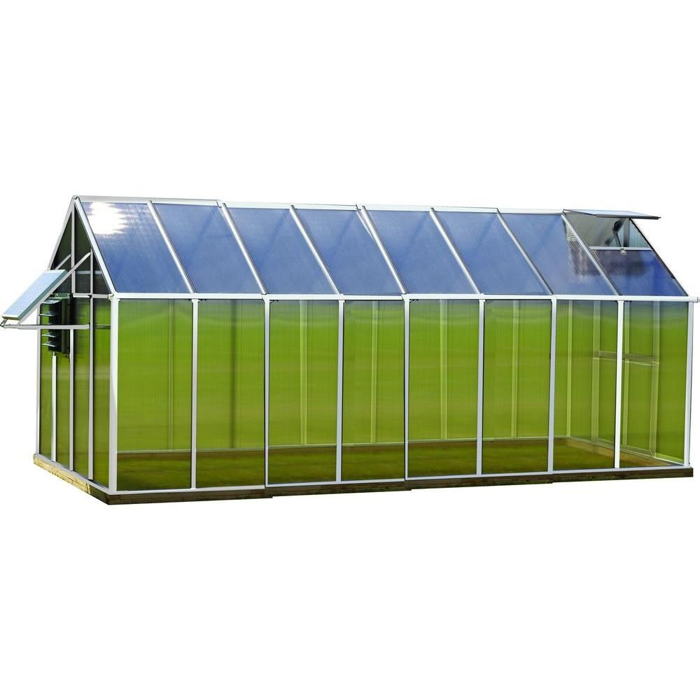 Monticello 8 Ft X 16 Ft Aluminum Mojave Greenhouse Mont 16 Al Mojave The Home Depot Greenhouse Plans Monticello Greenhouse