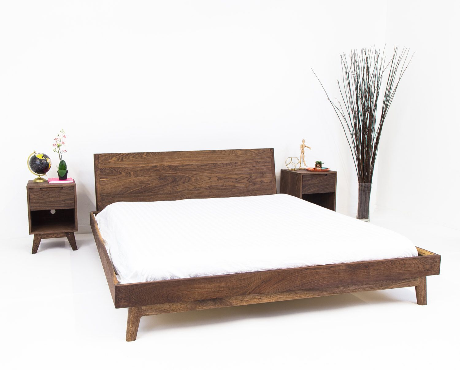 Modern Bed Walnut Bed Midcentury Modern Bed King Bed Queen Bed