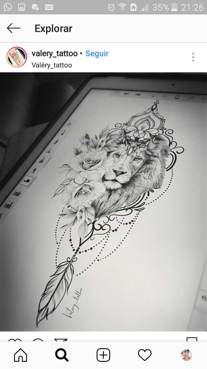 Fabulous Imagination I Don T Know Which I Like More The Lion Or The Roses A Tattoos Body Art Tattoos Zodiac Tattoos