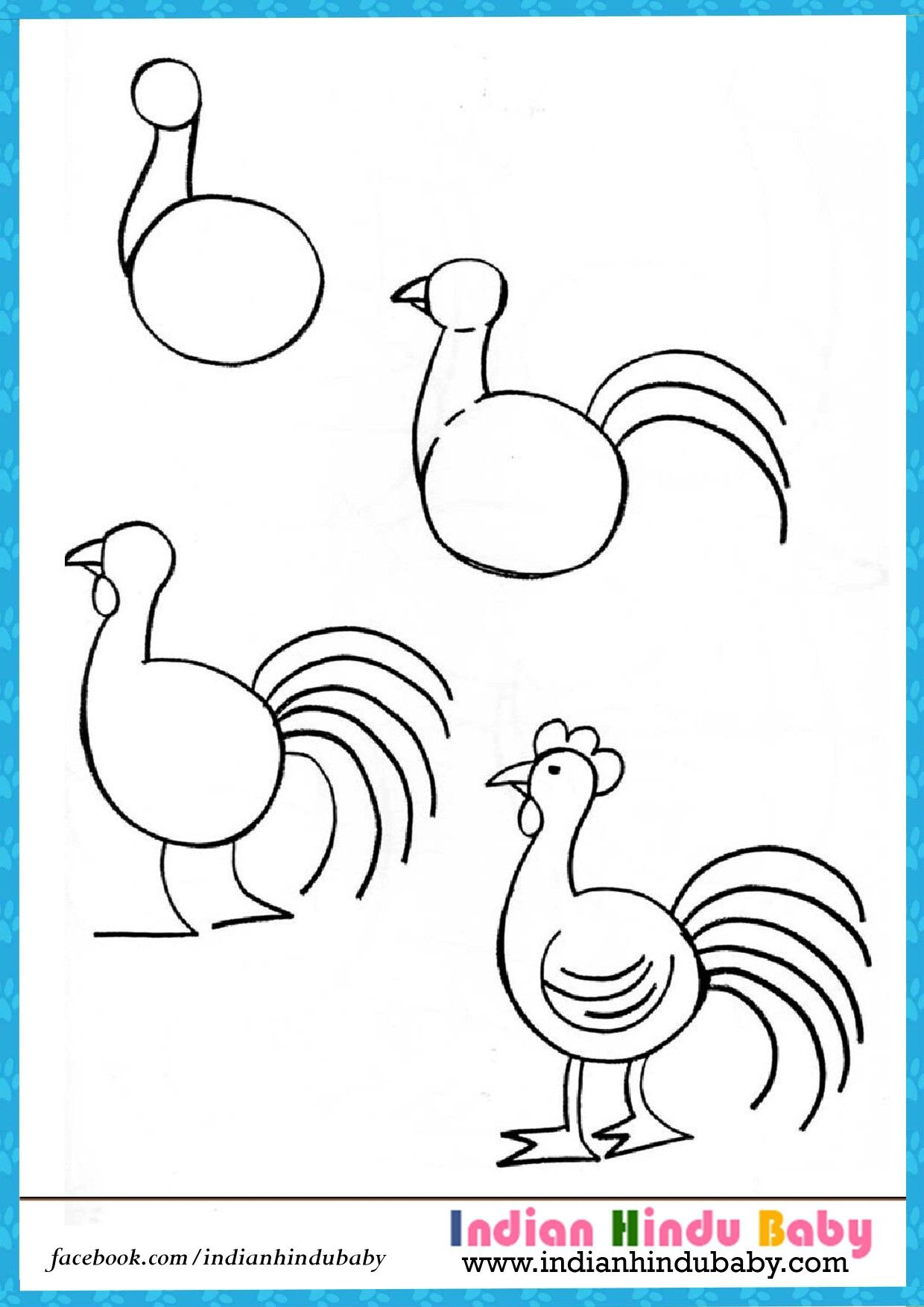 Teach your kid to draw \'Hen\' with simple drawing tips - https://www ...