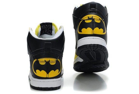 2a66a4b38bb9 Batman Nike DC The Dark Knight Black Yellow   Cool High Tops Nikes Dunks  Adidas Converse Cartoon Shoes
