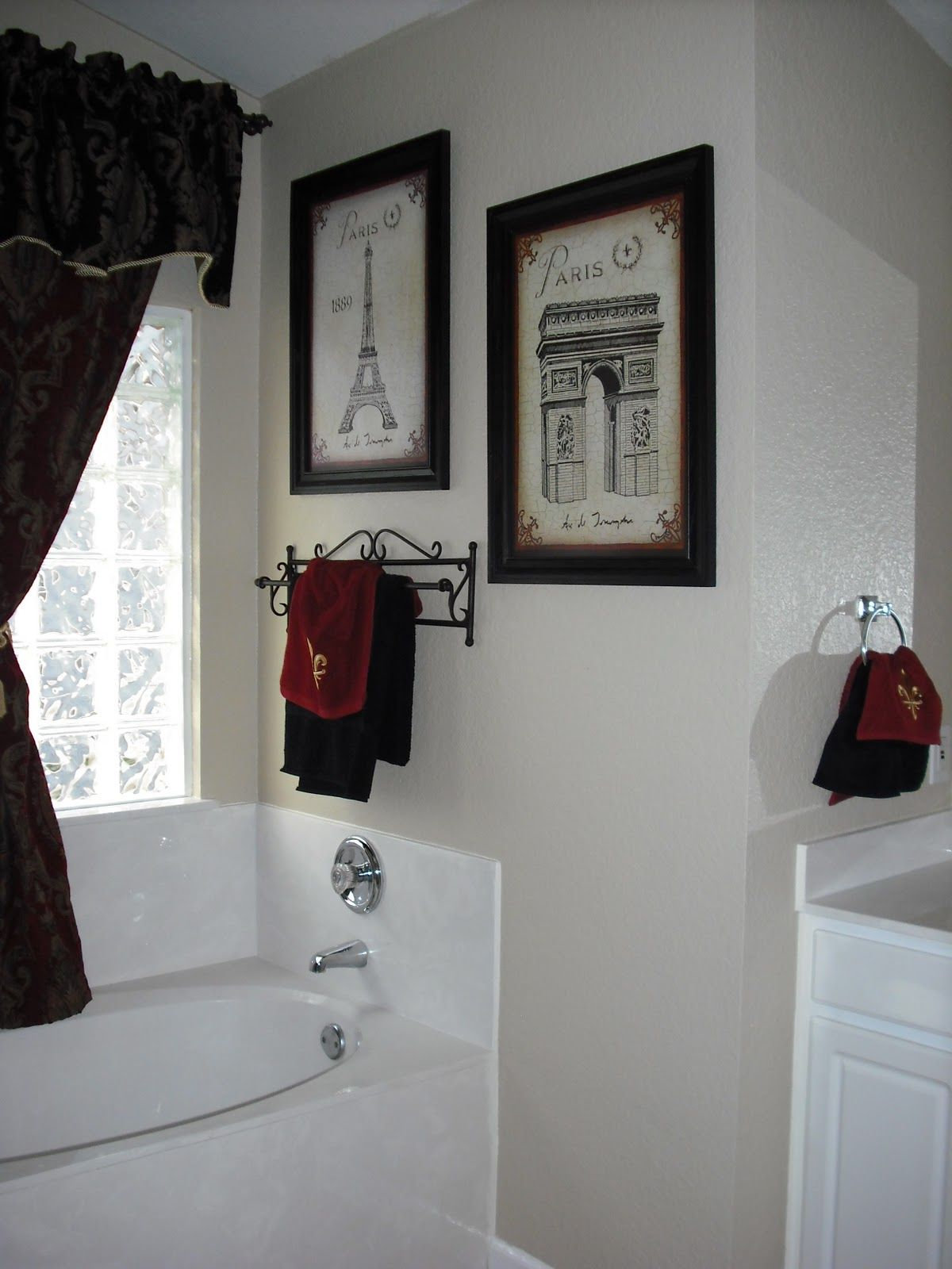 paris themed bathroom. Another idea for Paris themed half bath  Black and white with hint of red Exactly what I want master