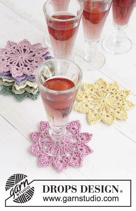 Floral Toast Drops Extra 0 1305 Virkade Drops Glasunderlagg I Muskat Free Pattern By Drops De Lasinaluset Virkatut Lasinaluset Ilmaiset Virkkausohjeet