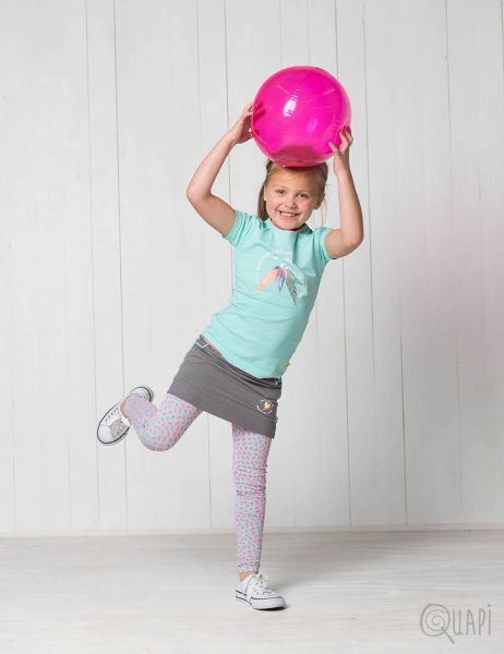 Quapi | Shortsleeve Faun Mint | Skirt Fanette Olive | Legging Florijn 2 Mint Leopard