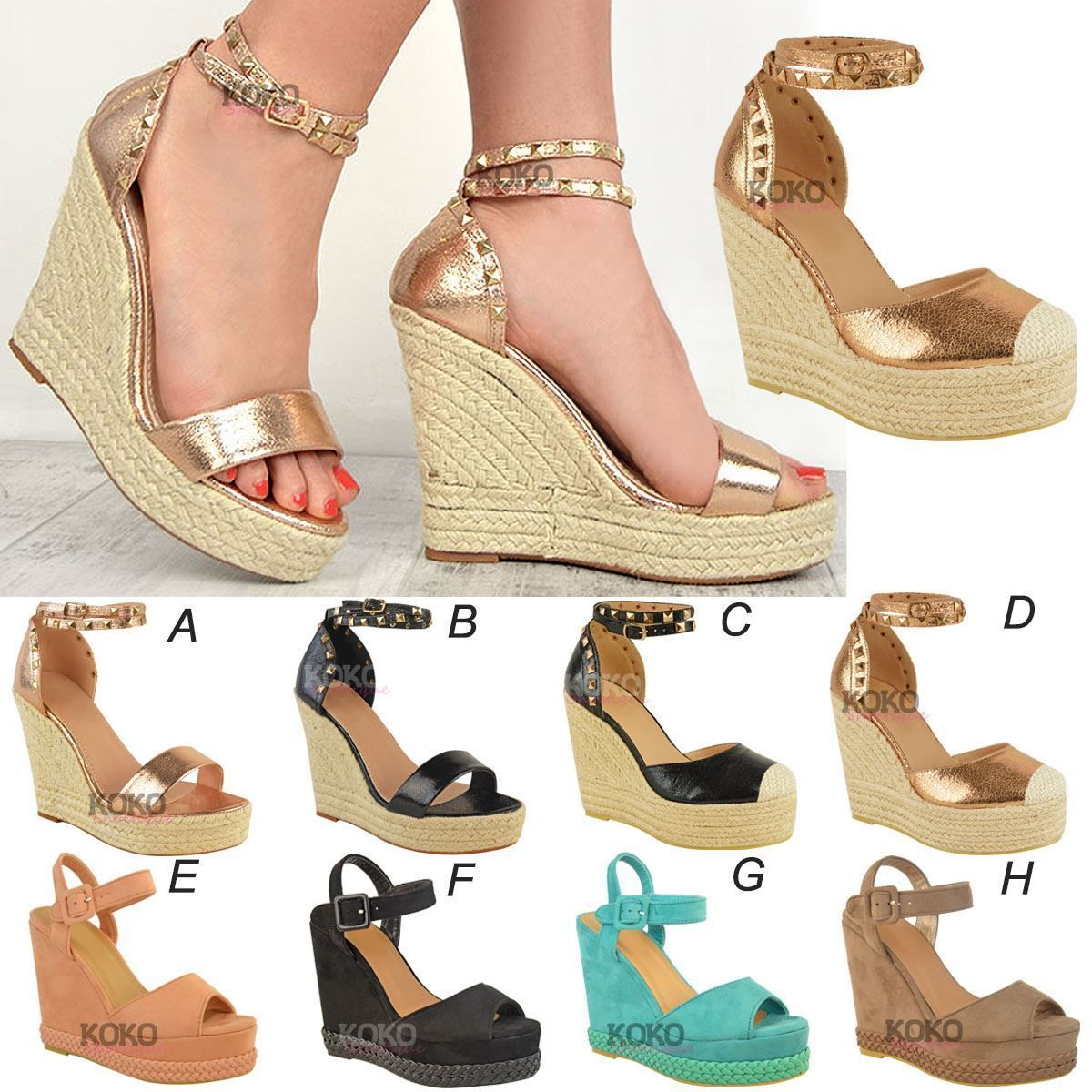 WOMENS LADIES WEDGE SANDALS ESPADRILLES PLATFORM SUMMER PART STRAPY HEELS  SHOES