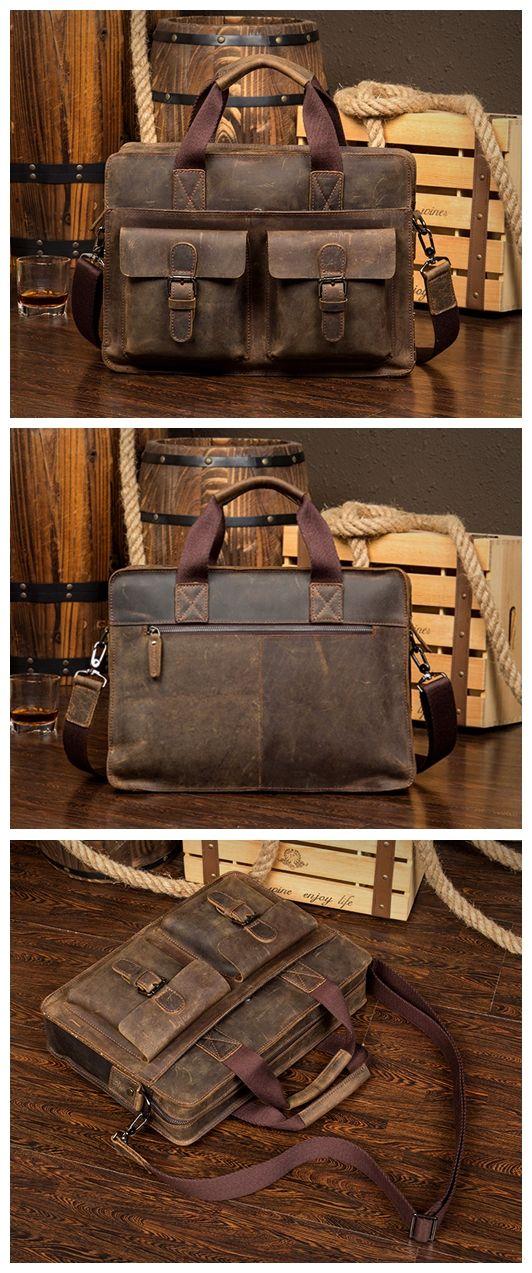 Handcrafted Vintage Style Genuine Leather Mens Briefcase Laptop Bag 6132 Messenger Bag