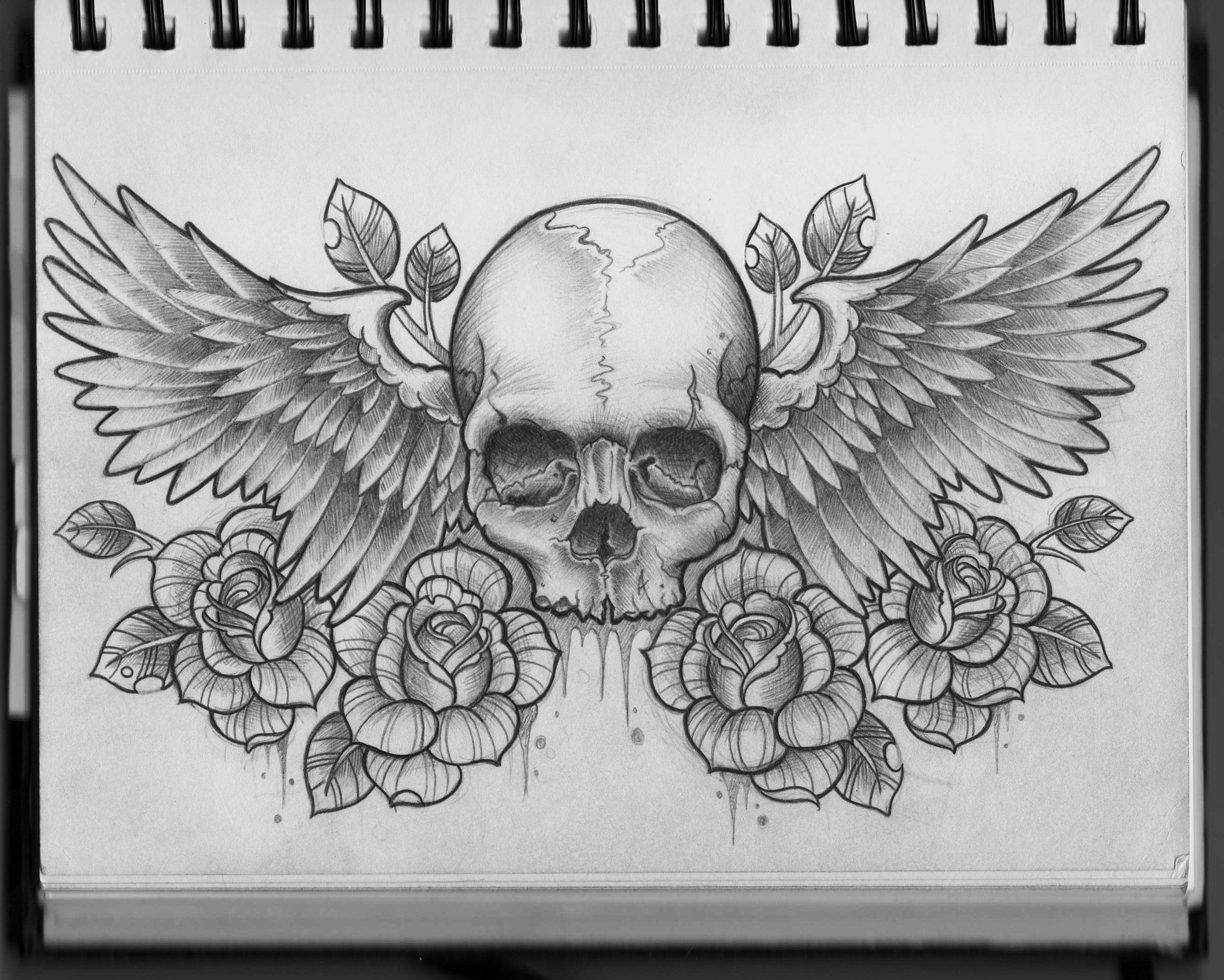 Skull And Wings Chest Design