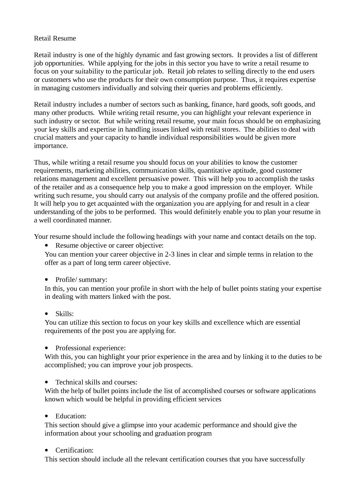 resume sample retail industry Job resume samples