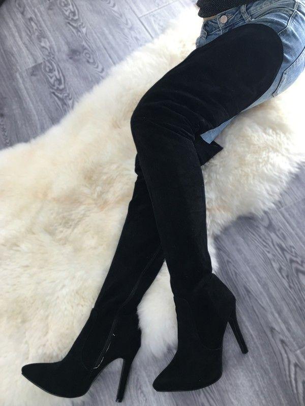 Stylish Black Thigh High Stiletto Boots in 2019 | Thigh ...