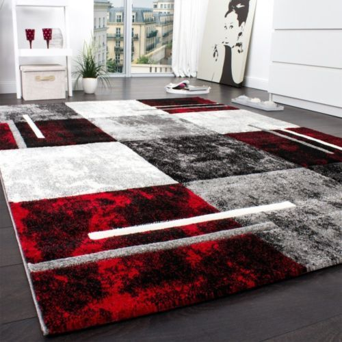 Large Designer Rug Modern Thick Woven Carpet Soft Red Black White Checked Rug Rugs In Living Room Black Living Room Modern Rugs