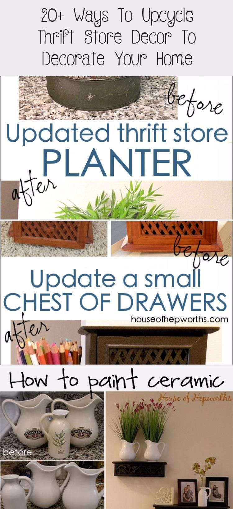 20+ ways to upcycle thrift store decor to decorate your home. Tons of great ideas for decor makeovers. www.houseofhepworths.com #HomeDecorDIYRecycle