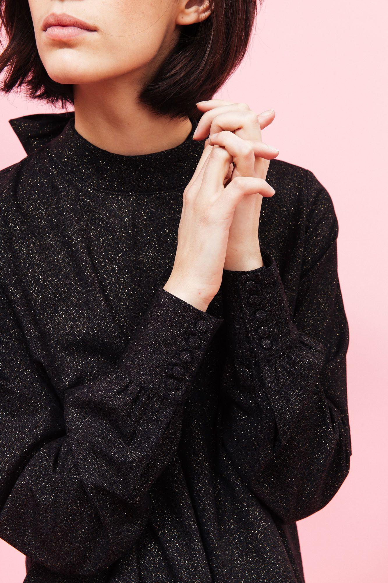 Blouse Anna noire pailletée - La Collection de Noël - vêtements - Noël