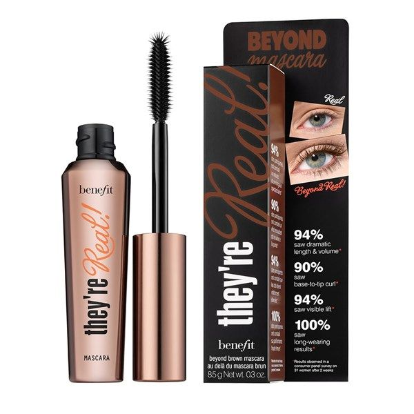They're real! lengthens, curls, volumizes, lifts and separates. Our jet black, long-wearing formula won't smudge or dry out. A specially designed brush reveals lashes you never knew you had!Comes in full size & mini94% saw dramatic length & volume*94% saw visible lift*100% saw long-wearing results**Results observed in a consumer panel survey   Benefit Cosmetics They're Real! Lengthening Mascara in Beyond Brown