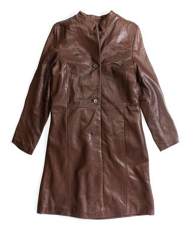 Another great find on #zulily! Brown Leather Long Coat by Tanners Avenue #zulilyfinds