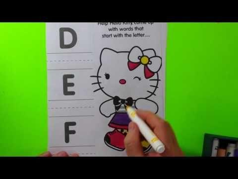 Hello Kitty Aprender alfabeto para colorir brinquedo surpresa divertido