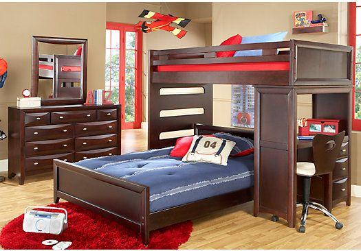 Ivy League Cherry Twin Full Student Loft Bedroom Furniture