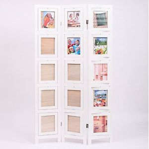 3 folding screen memories double sided photo picture frame room divider white ebay