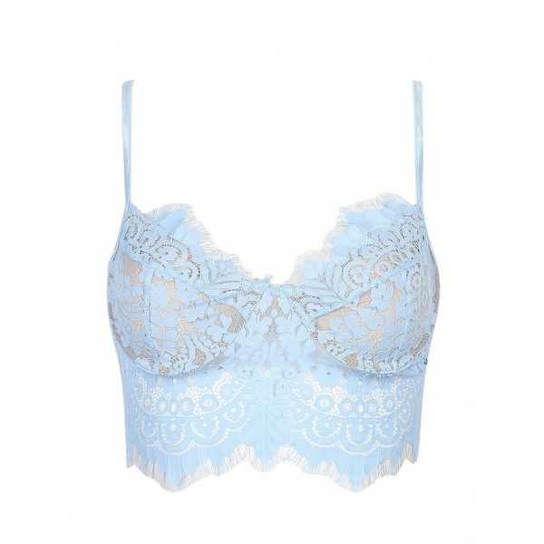 1703be4c48 Choies Sky Blue Sheer Eyelash Lace Spaghetti Strap Crop Bralet ( 9.99) ❤  liked on