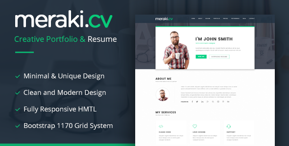 Resume Website Template Meraki One Page Resume Html Template  Template Creative Studio