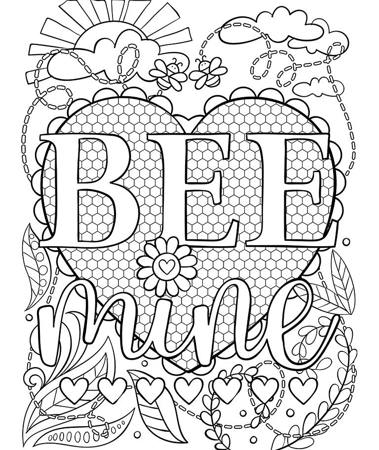 "Here is the Valentine's Day ""Bee Mine"" Crayola Coloring"