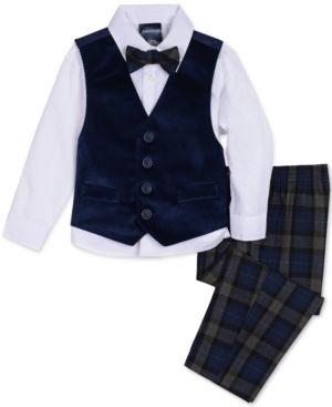 bb2b76620 Nautica Baby Boys 4-Pc. Plaid Bow Tie, Velvet Vest, Shirt & Pants Set -  Blue 24M