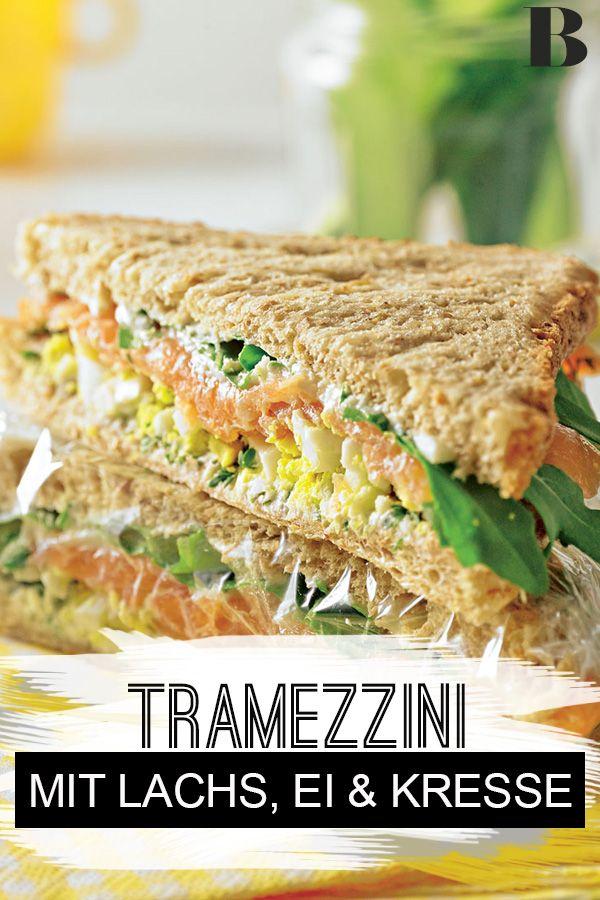 Tramezzini mit Lachs, Ei und Kresse