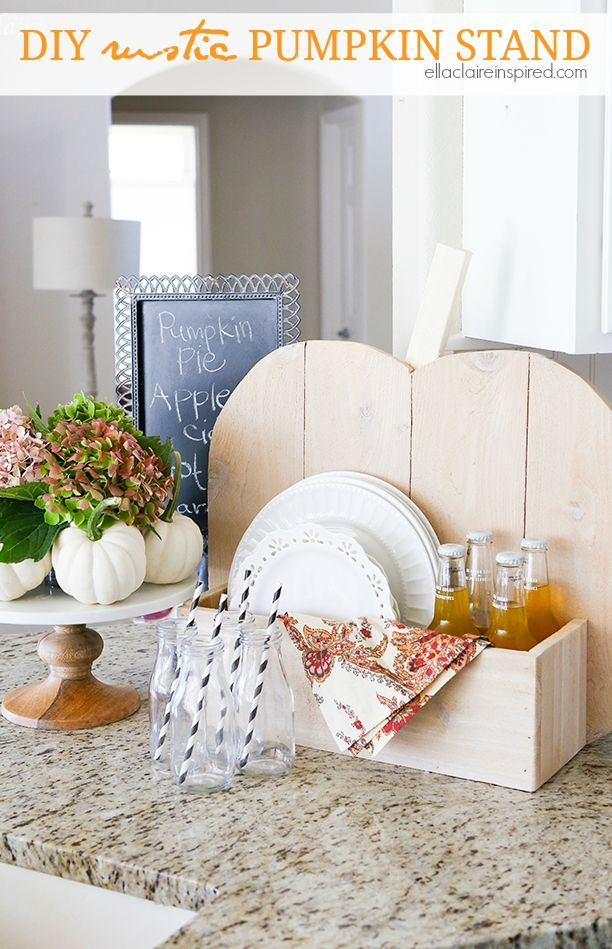Simple DIY rustic Pumpkin Stand~ the perfect addition to holiday decor and entertaining #DIHWorkshop #sponsored by Ella Claire.