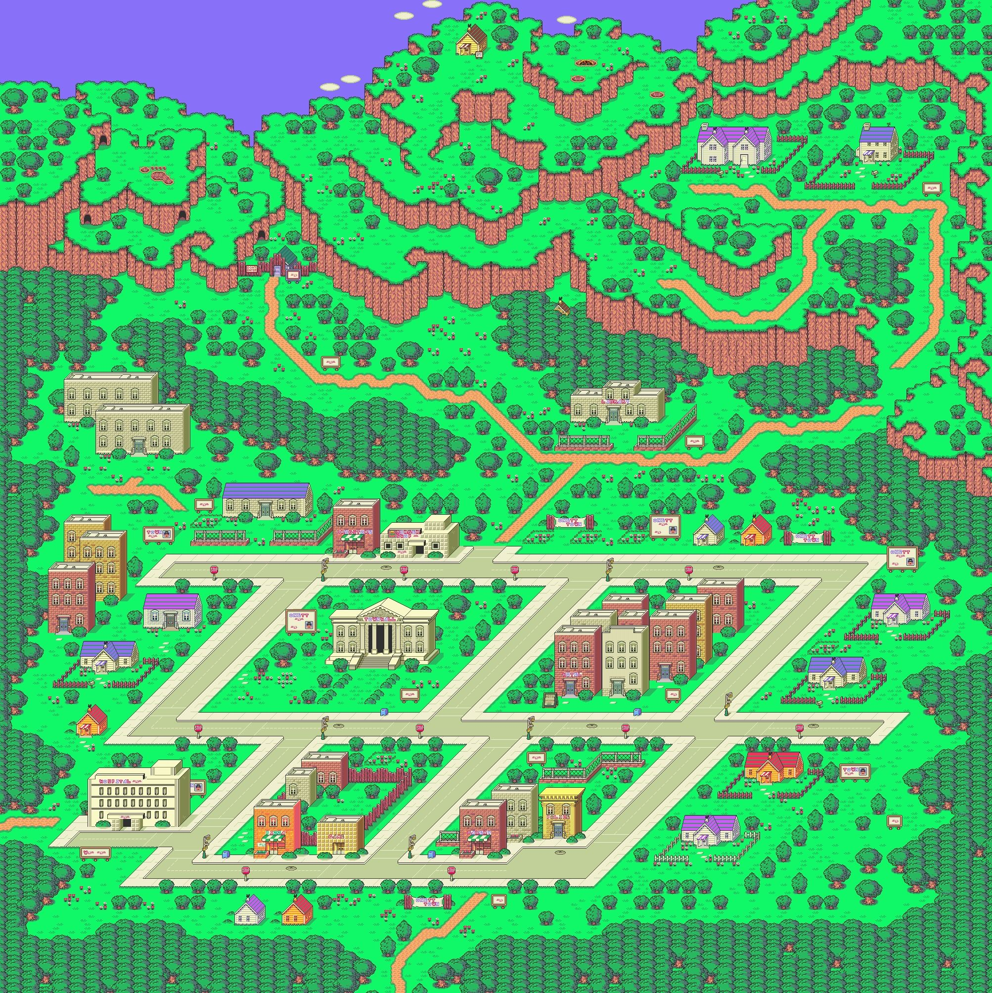 onett day - earthbound | maps | Vintage video games, Video game art
