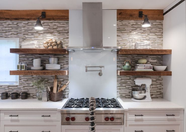 Beautiful Kitchen Features White Cabinets Paired With Linear Gray Fascinating Kitchen Shelves Designs Design Inspiration