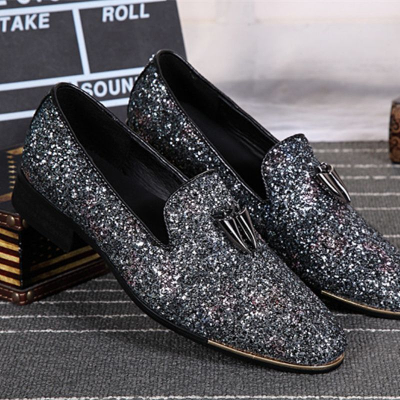 Christia Bella New Fashion Men Prom Wedding Loafers Bling Bling Glitter Men  Dress Shoes Business Smoking b3c2bc205821
