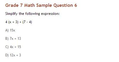 Grade 7 Math Sample Question 6: For answer key, detailed ...
