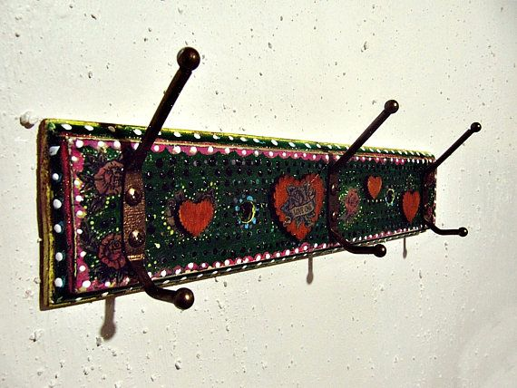 Boho Wall Rack   Mexican Art Inspired Decor   Decorative Vintage Hooks    Clothes Hanger   Bohemian Gypsy Decor   Entryway Wall Storage