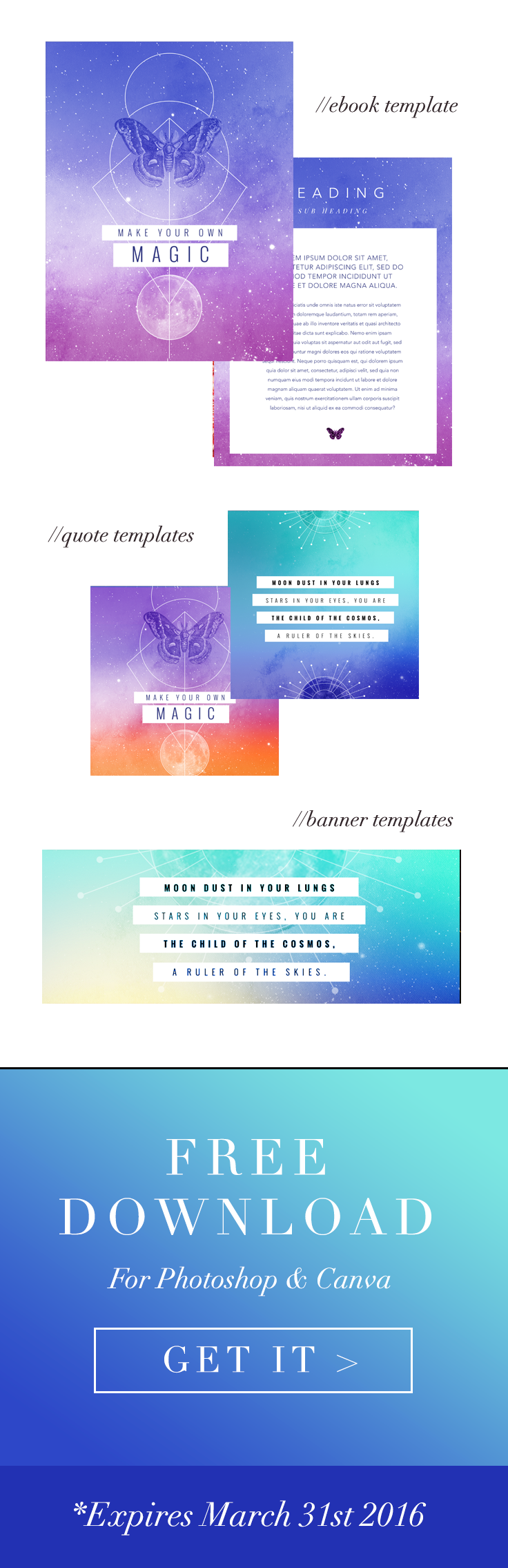 Sarah Hart – March: Free branding template for photoshop