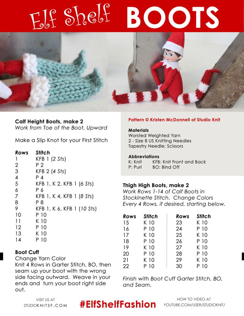 Elf on the Shelf Knitting Ideas and Pattern Book by Studio Knit ...