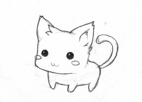 Cute Chibi Cat Black And White Art Simple Painting Tattoo Kitten Drawing Cute Cat Drawing Easy Cartoon Drawings