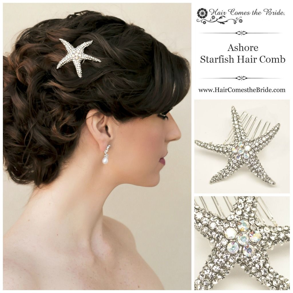 "Jamaican Wedding Hairstyles: Rhinestone Starfish Bridal Hair Comb ""Ashore"" By Hair"