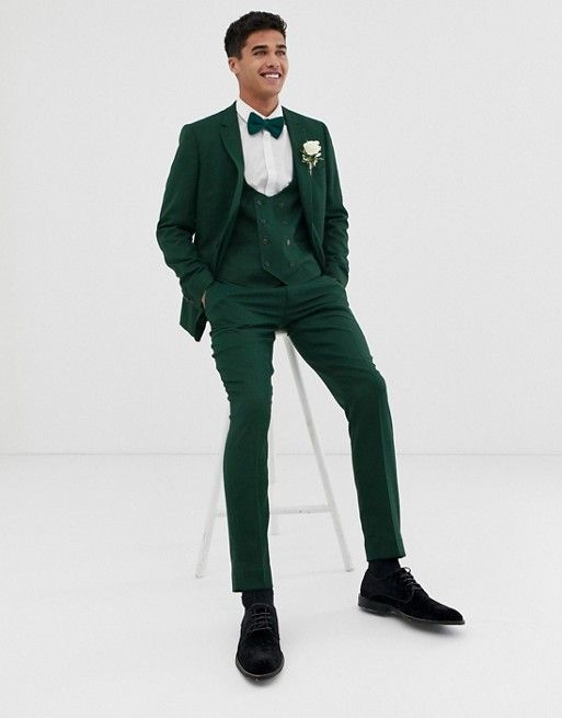8dfa3c61e390f6 ASOS DESIGN wedding skinny suit jacket in forest green micro texture | ASOS
